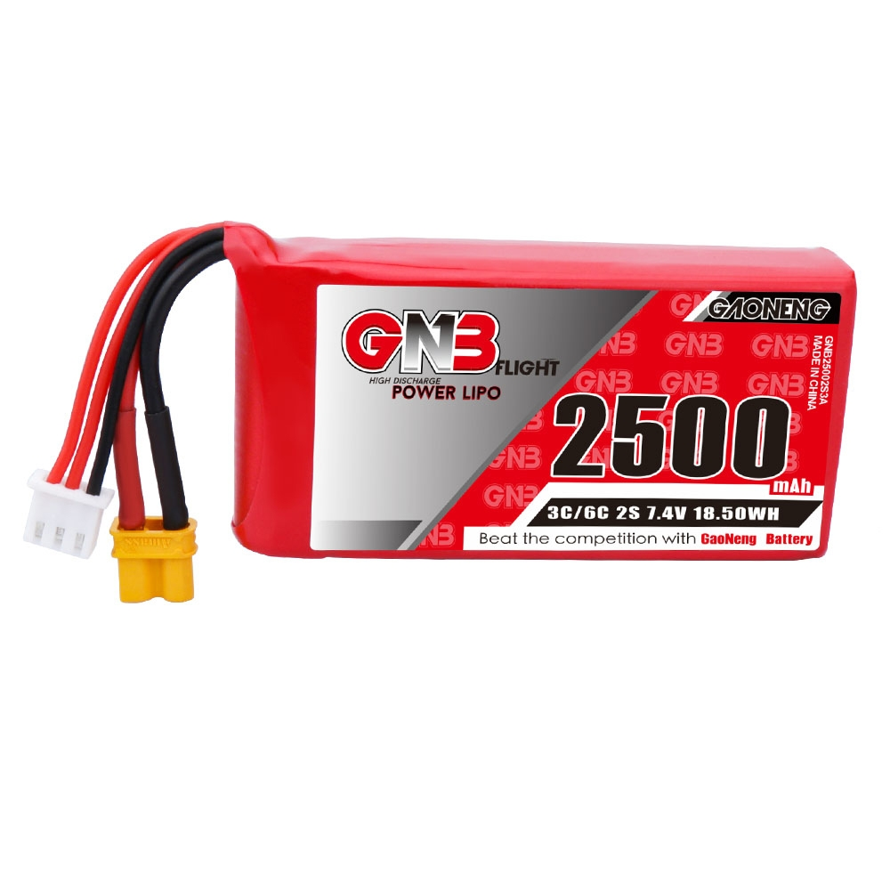 Gaoneng GNB 7.4V 2500mAh 3C 2S Lipo Battery XT30 Plug for Jumper T16 Transmitter