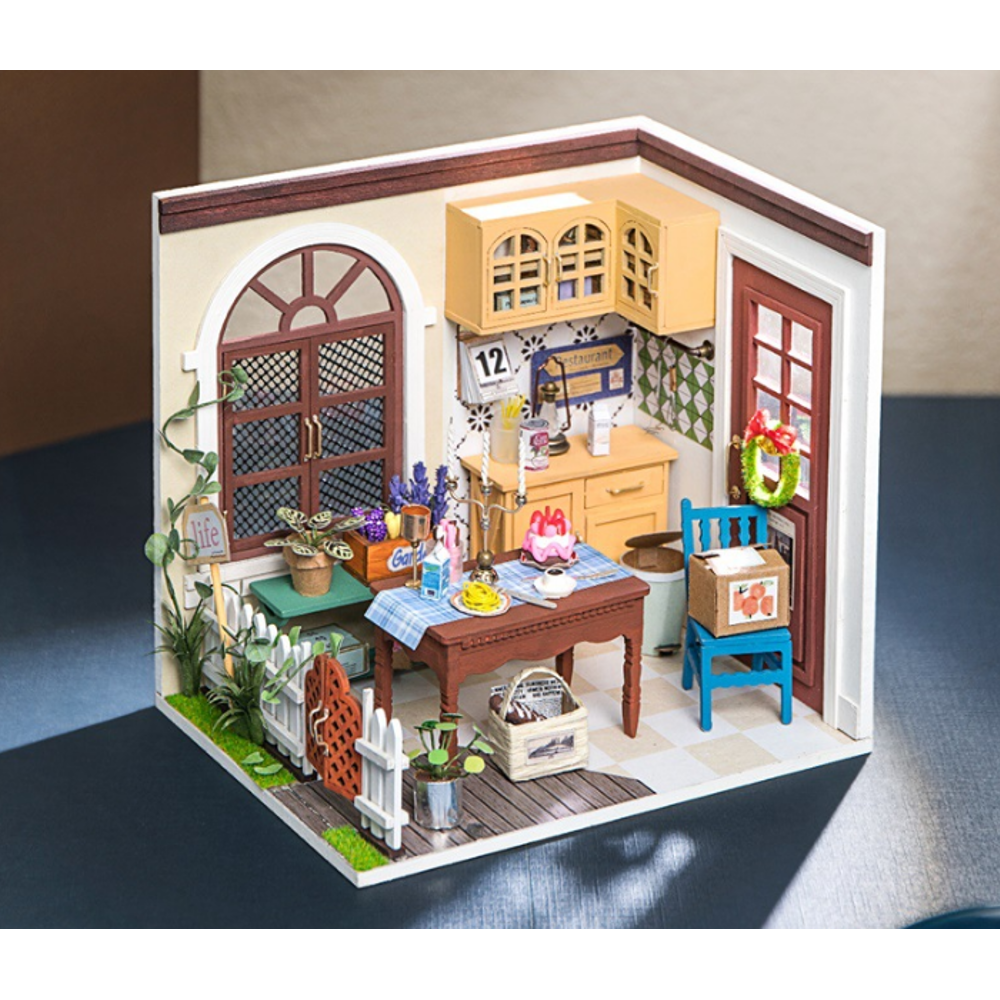 Robotime DGM09 DIY Doll House Handmade Wooden Assembly Model Mrs. Charlie's Restaurant Theme Doll House With Furniture