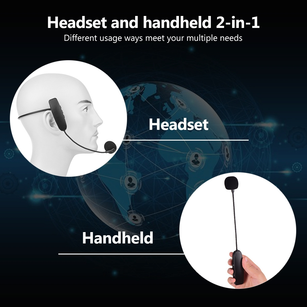 Wireless Microphone Headset, UHF Wireless Headset Mic System, 160ft Range, Headset Mic and Handheld Mic 2 In 1, 1/8''&1/4'' Plug, For Speakers, Voice Amplifier