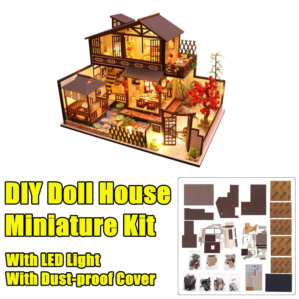 Wooden DIY Courtyard Doll House Miniature Kit Handmade Assemble Toy with LED Light Dust-proof Cover for Gift Collection