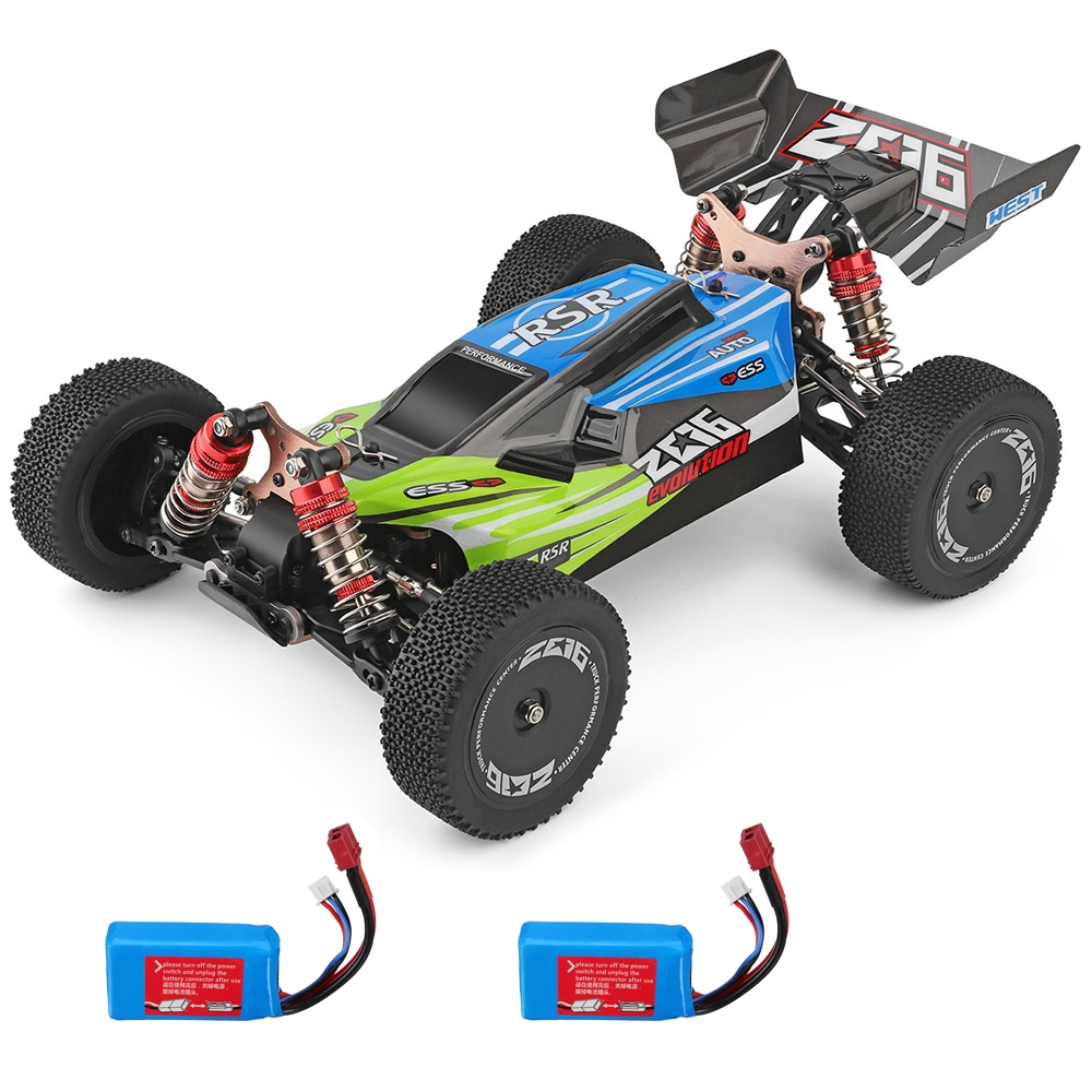 1PC Wltoys 144001 1/14 2.4G 4WD High Speed Racing RC Car Vehicle Models 60km/h Two Battery Green