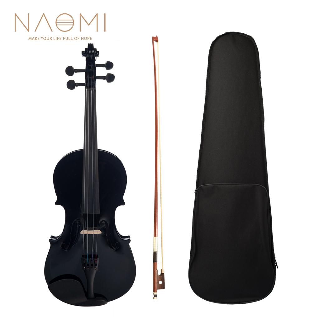NAOMI 4/4 Black Acoustic Violin Spruce Top & Ebony Fitting Basswood Violin Outfit for Beginners W/Violin Case+Bow