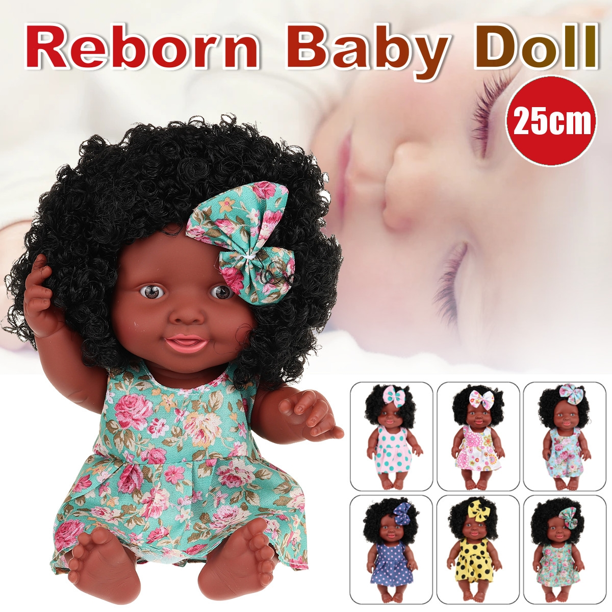 25CM Cute Soft Silicone Joint Movable Lifelike Realistic African Black Reborn Baby Doll for Kids Gift