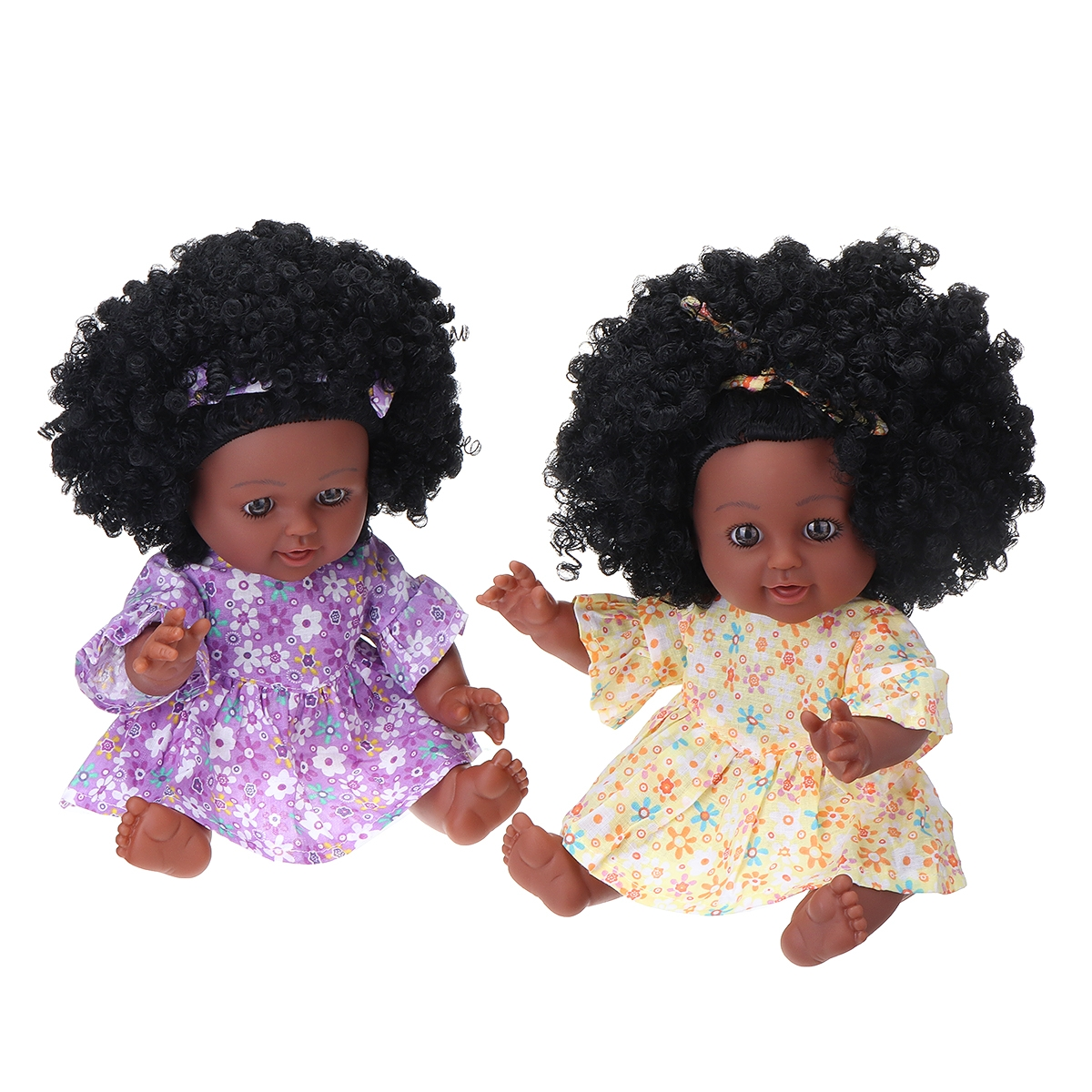 12Inch Soft Silicone Vinyl PVC Black Baby Fashion Doll Rotate 360° African Girl Perfect Reborn Doll Toy for Birthday Gift