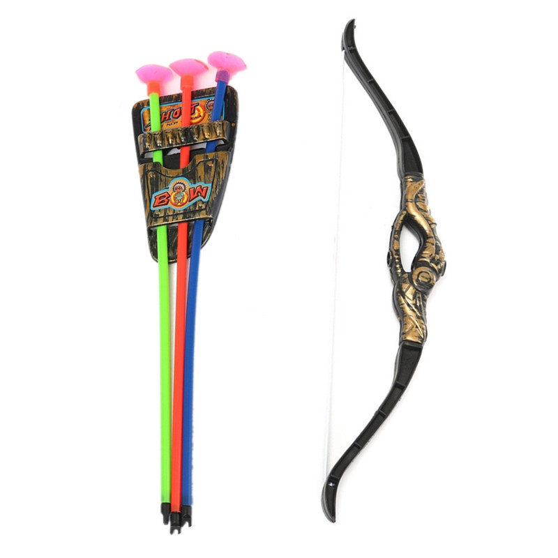 Plastic Bow Arrow Archery Simulation Bronze Sucker Bow Arrow Suit For Children Kids Game Toy