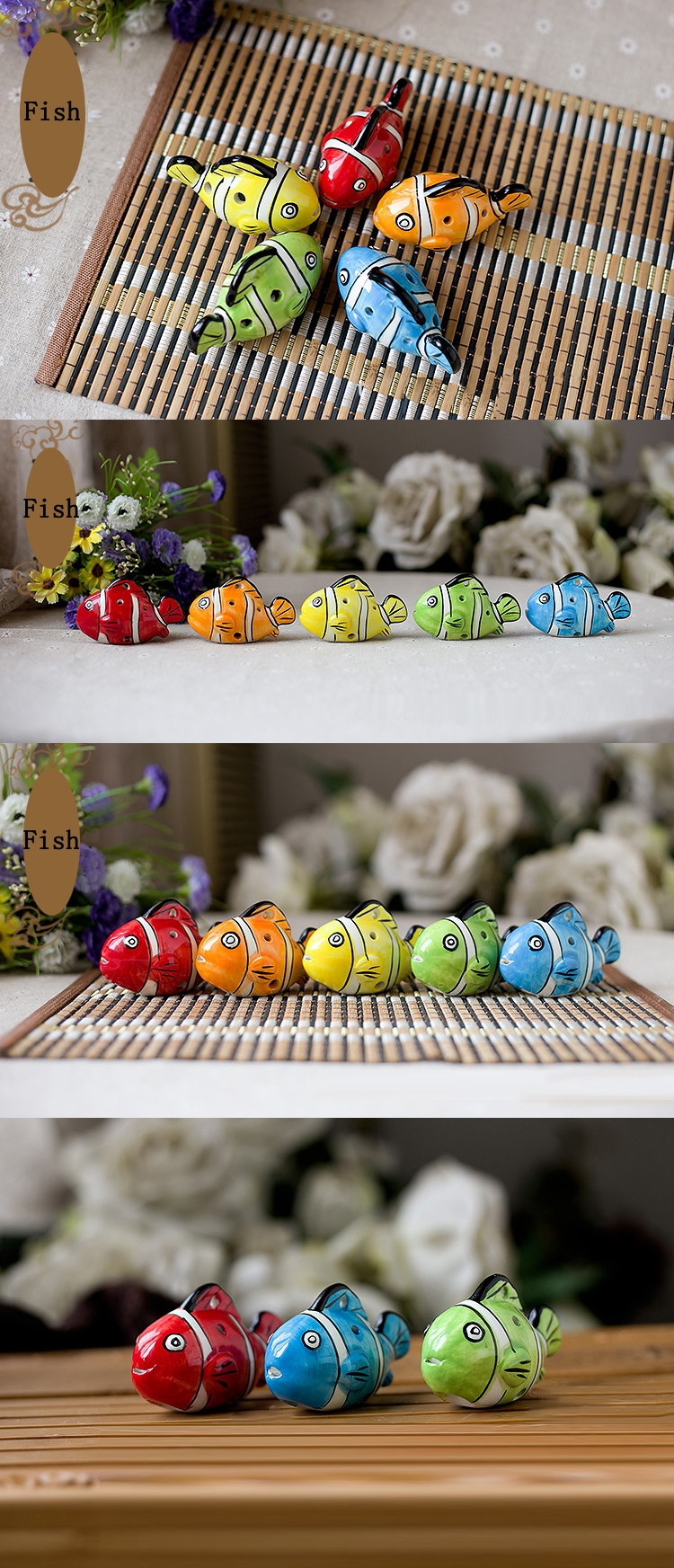 6 Holes Cute Fish Ceramic Ocarina Whistle Decorative Gift