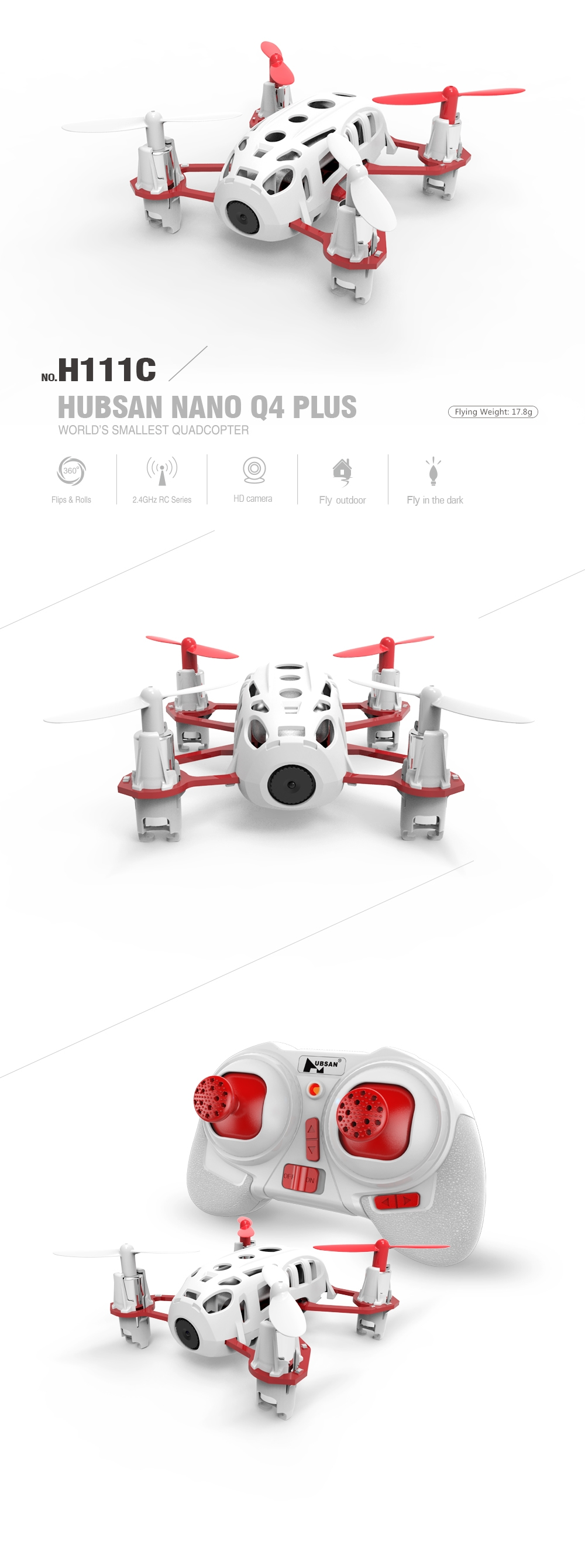 Hubsan H111C Nano Q4 Plus With 720P HD Camera 3D Flips RC Quadcopter RTF