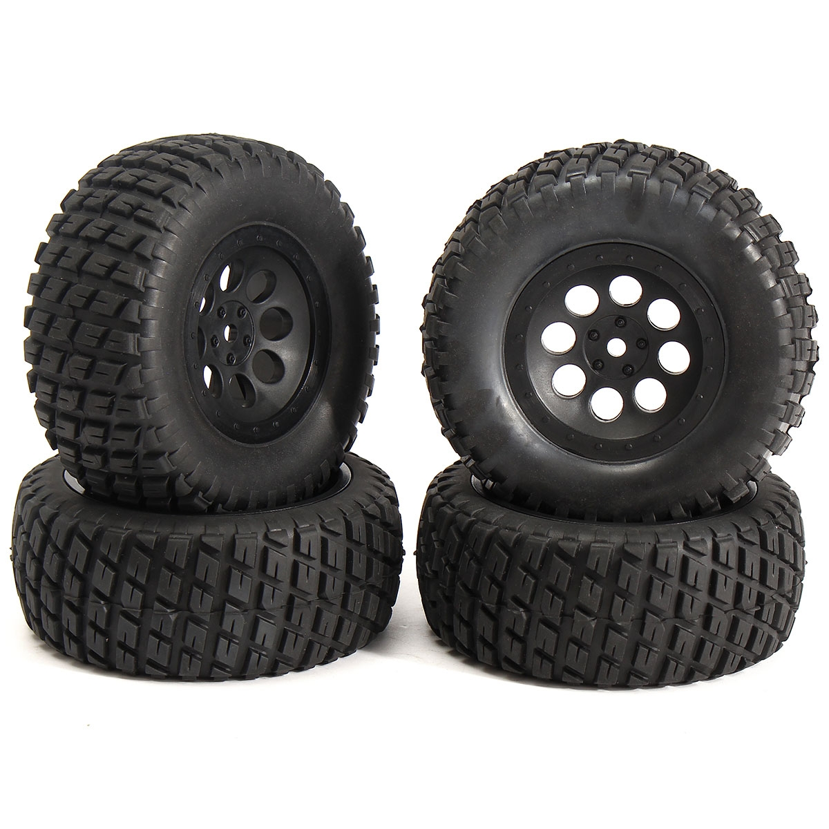 4PCS 1/10 Tires Set Tyre Short Course Truck Wheel Rim For TRAXXAS SlASH HPI RC Car Part