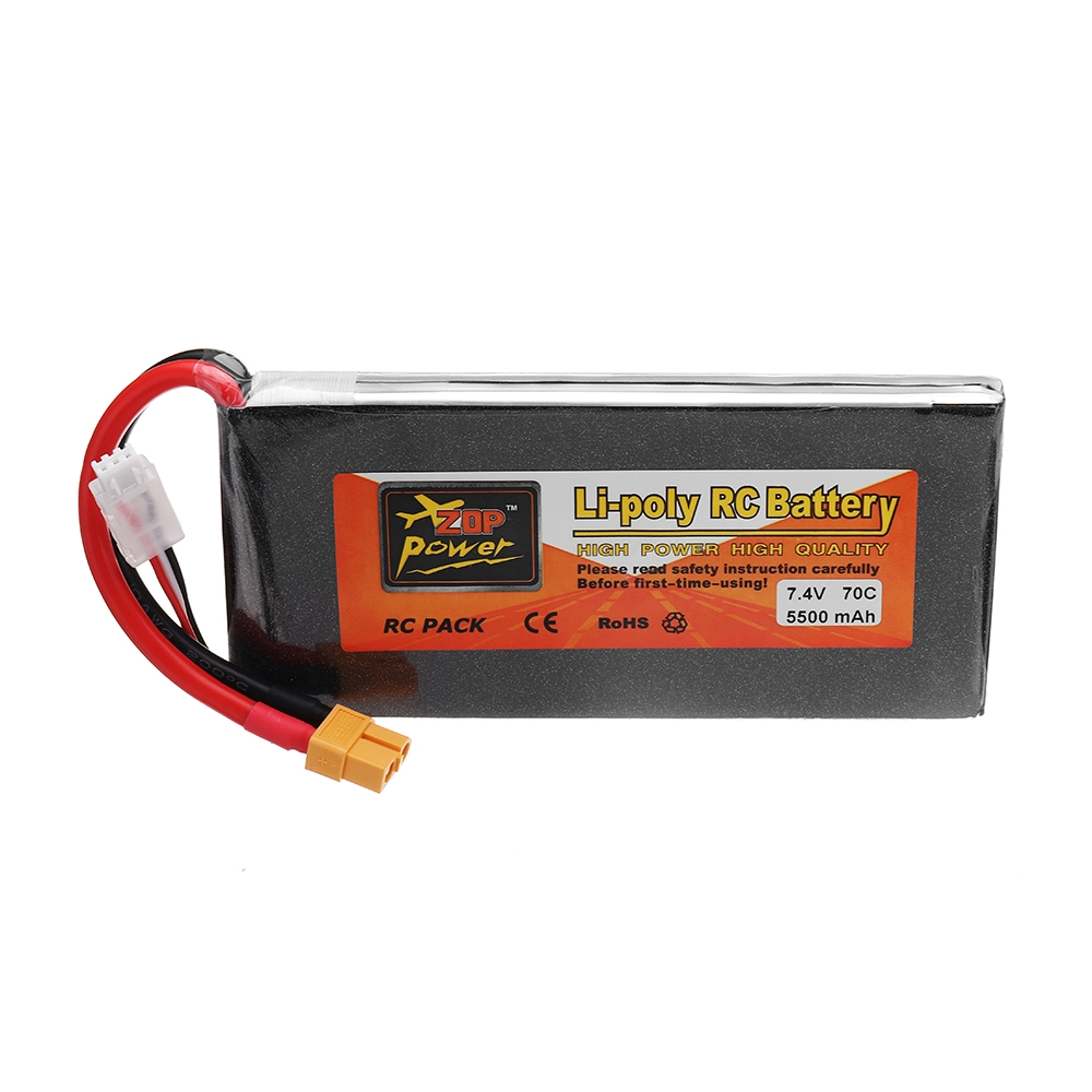 ZOP POWER 7.4V 5500mAh 70C 2S Lipo Battery With XT60 Plug